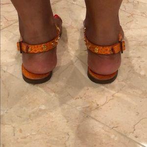 89a17d20b76faf Tory Burch Shoes - Tory Burch logo studded thong sandals (Marge)